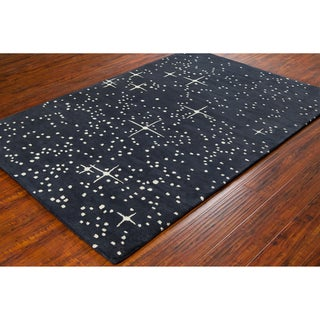 Allie Handmade Abstract Black Wool Rug - 5' x 7'6""