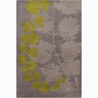 Handmade Allie Grey/ Green Floral Wool Rug (5' x 7'6)