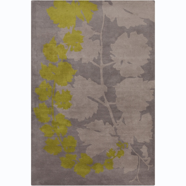 Handmade Allie Grey/ Green Floral Wool Rug (5' x 7'6)