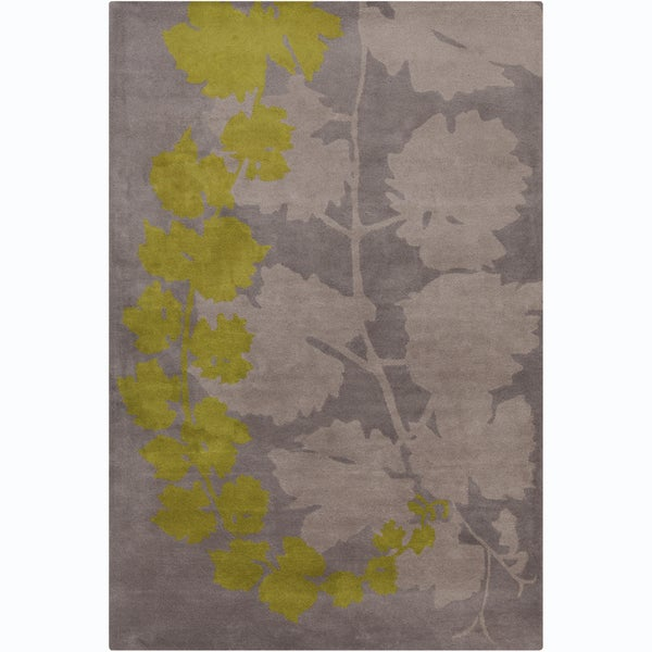 Handmade Allie Grey/ Green Floral Wool Rug - 5' x 7'6