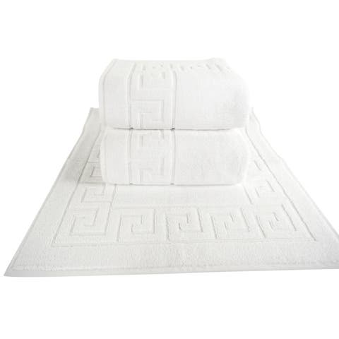 Classic Turkish Towel Greek Key Pattern Hotel Bathmat