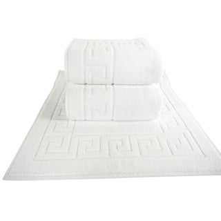 Classic Turkish Towel White Greek Key Pattern Bath Mat (Set of 3) - 20 x 32