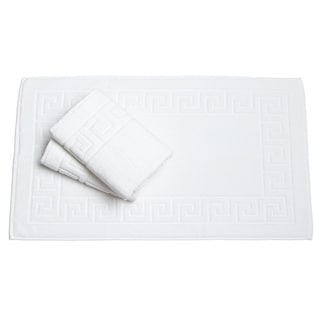 Salbakos White Greek Key Pattern Bath Mat (Set of 3)