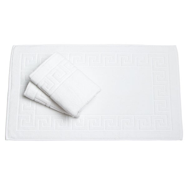 Classic Turkish Towel White Greek Key Pattern Bath Mat (Set of 3) - 20 X 30