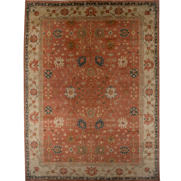 Hand-knotted Oriental Rust Wool Area Rug (9' x 12')
