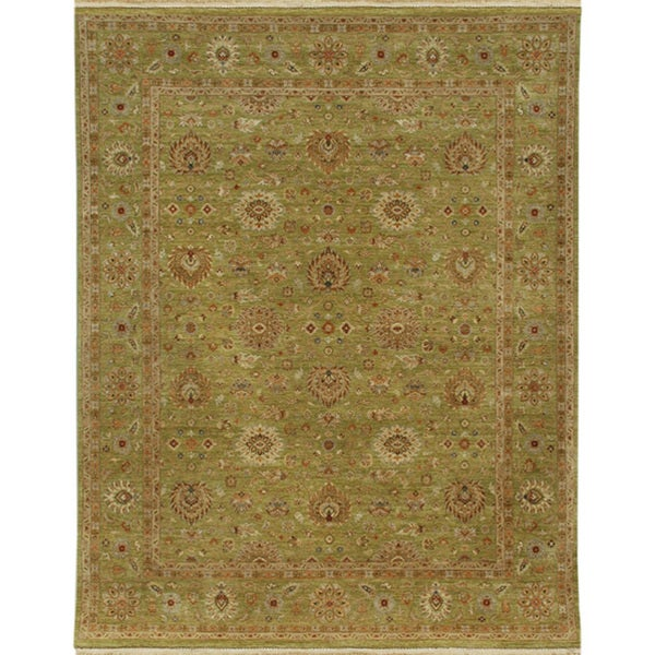 Hand-knotted Oriental Paradise Green Wool Area Rug (2' x 3')