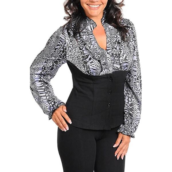 Stanzino Women's Plus Mock Layer Animal Print Blouse Top