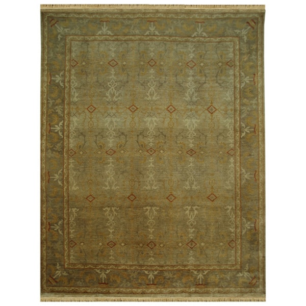 Hand-knotted Oriental Sand Wool Area Rug (8' x 10')