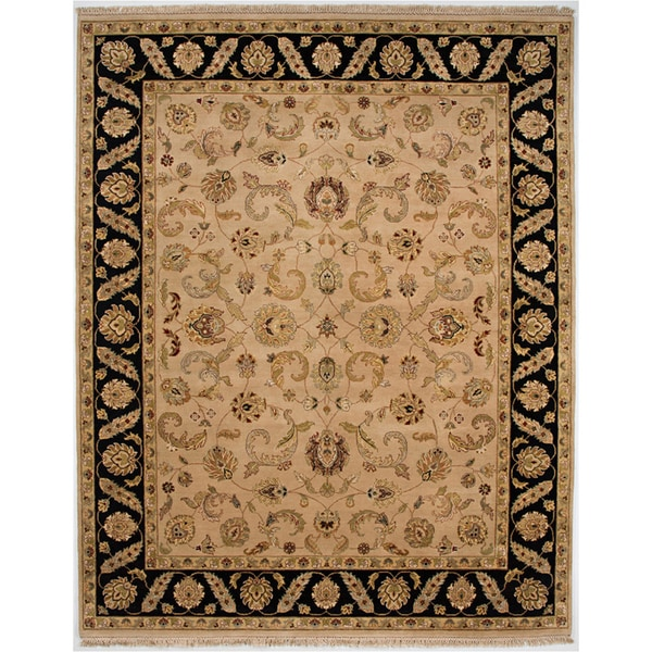 Hand-knotted Oriental Beige Wool Area Rug (8' x 10')