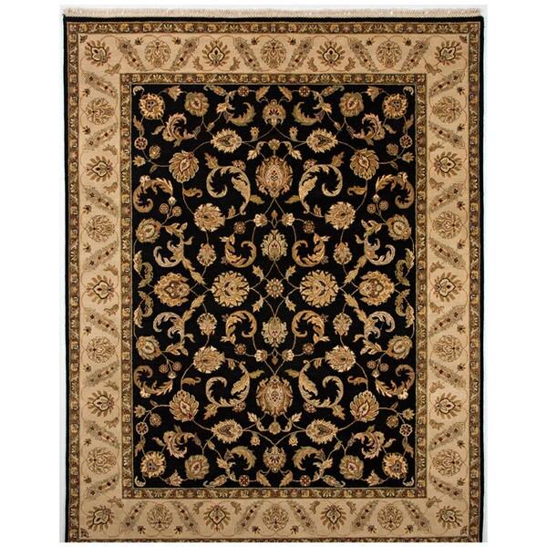 Hand-knotted Oriental Ebony Wool Area Rug (2' x 3')
