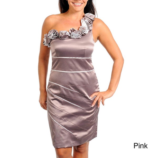 Stanzino Women's Plus Rosette One-shoulder Party Dress