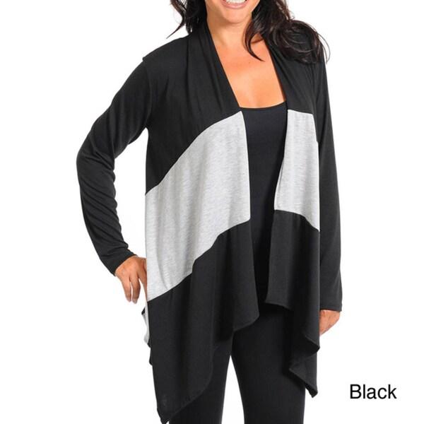 Stanzino Women's Plus Color-block Open Front Cardigan