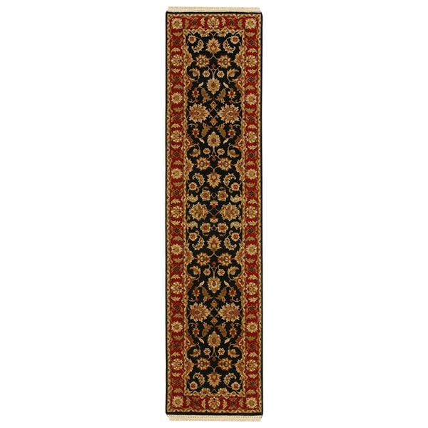 Hand-knotted Oriental Ebony Wool Runner Rug (2'6 x 10')