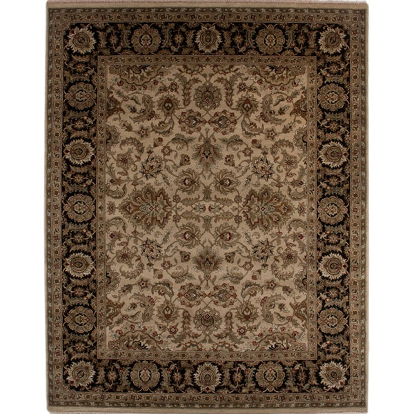 Hand-knotted Oriental Sand Wool Area Rug (10' x 14')