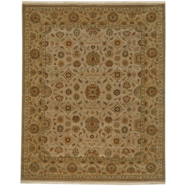 Hand-knotted Oriental Dark Ivory Wool Area Rug (10' x 14')
