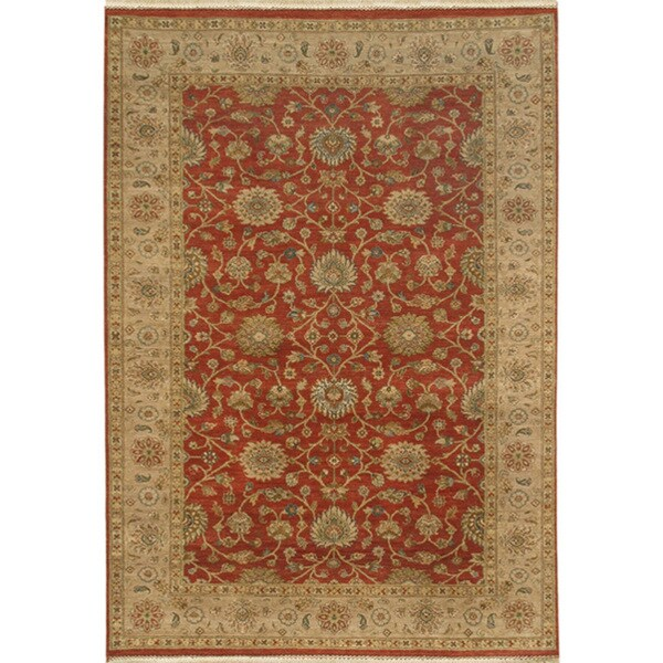 Hand-knotted Oriental Brick Red Wool Area Rug (6' x 9')