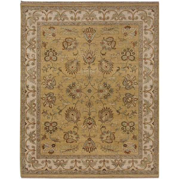 Hand-knotted Oriental Bright Gold Wool Area Rug (6' x 9')