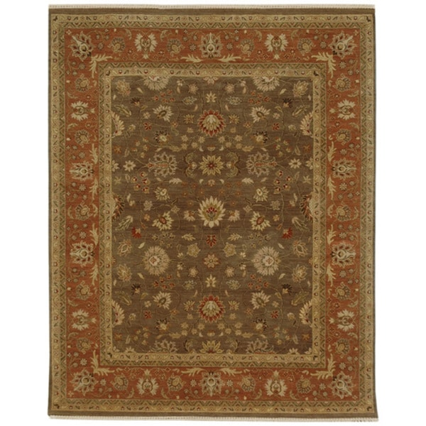 Hand-knotted Oriental Grey Brown Wool Area Rug (6' x 9')