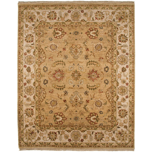 Hand-knotted Oriental Tan Wool Area Rug (2' x 3')