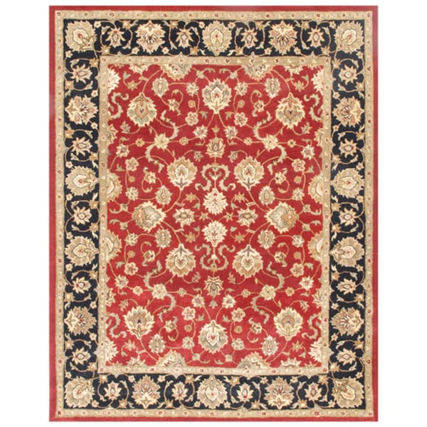 Hand-tufted Oriental Red Wool Area Rug (9'6 x 13'6)