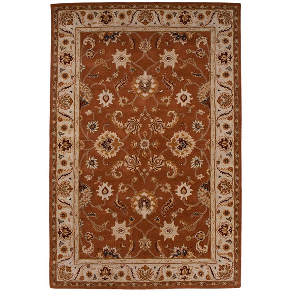 Hand-tufted Oriental Orange Rust Wool Area Rug (9'6 x 13'6)