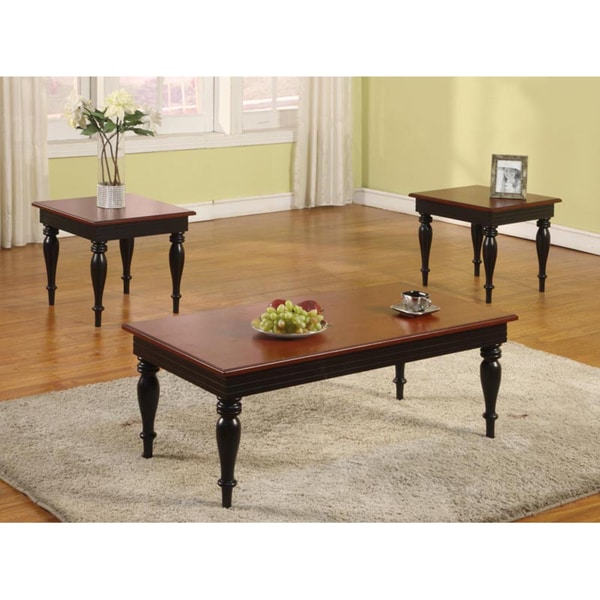 3-Piece Dark Walnut Cocktail and End Table Set