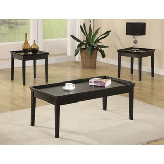 3-Piece Black Cocktail and End Table Set