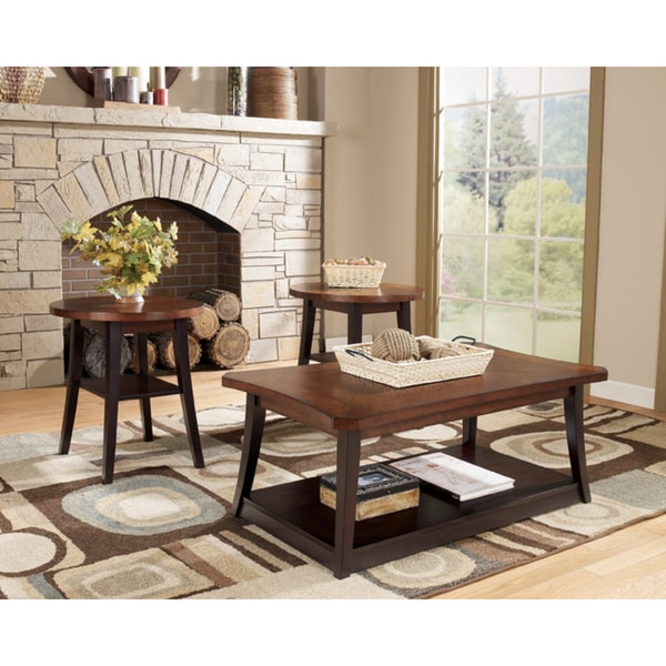 3-Piece Two-Tone Brown Cocktail and End Table Set