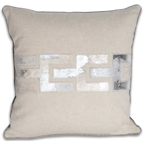 Marlo Lorenz Silver/ Grey Square Leather 16x16-inch Pillow