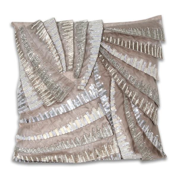 Marlo Lorenz Grey Pleated 16x16-inch Pillow