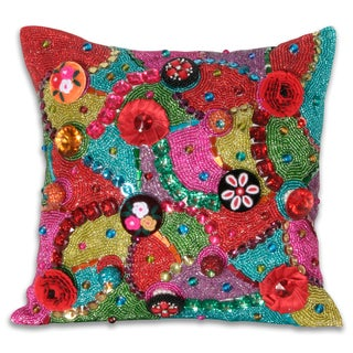Shop Marlo Lorenz Brielle Beaded 12x12 Inch Pillow Free