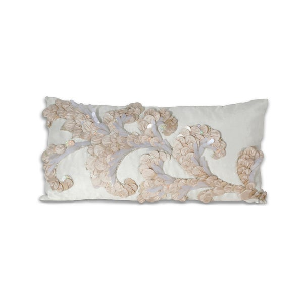 Marlo Lorenz Ivory Bead-embellished 12x24-inch Pillow
