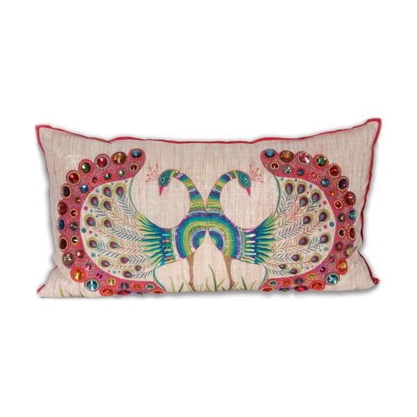 Marlo Lorenz Bijou Double Peacock 14x26-inch Pillow