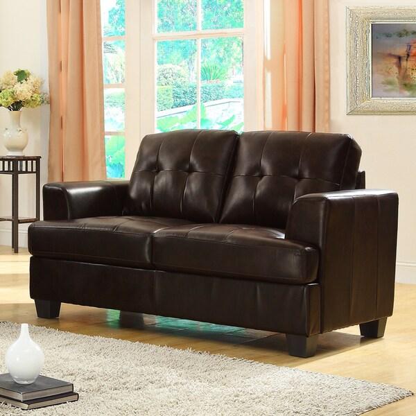 Cartona Brown Bonded Leather Loveseat