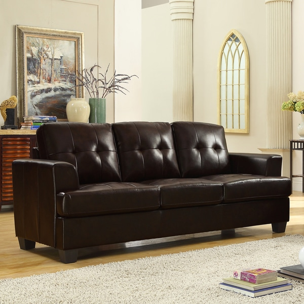 Cartona Brown Bonded Leather Sofa