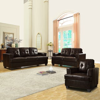 Cartona Dark Brown Bonded Leather Tufted 3-piece Living Room Set