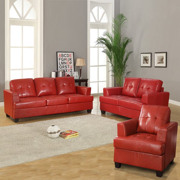 Cartona Red Bonded Leather Tufted 3 Piece Living Room Set Free Shipping Today