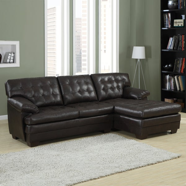 Delphine Dark Brown Bonded Leather Sectional by TRIBECCA HOME