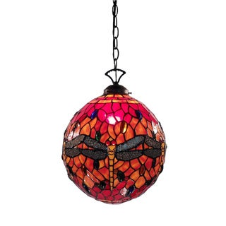 Warehouse of Tiffany Red Globe Dragonfly Lamp