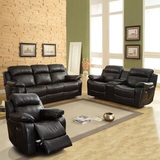 Eland Black Bonded Leather Sofa Set by iNSPIRE Q Classic