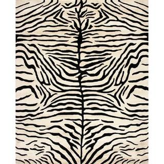 Handmade Zebra Ivory Black Wool Rug (9' x 12')