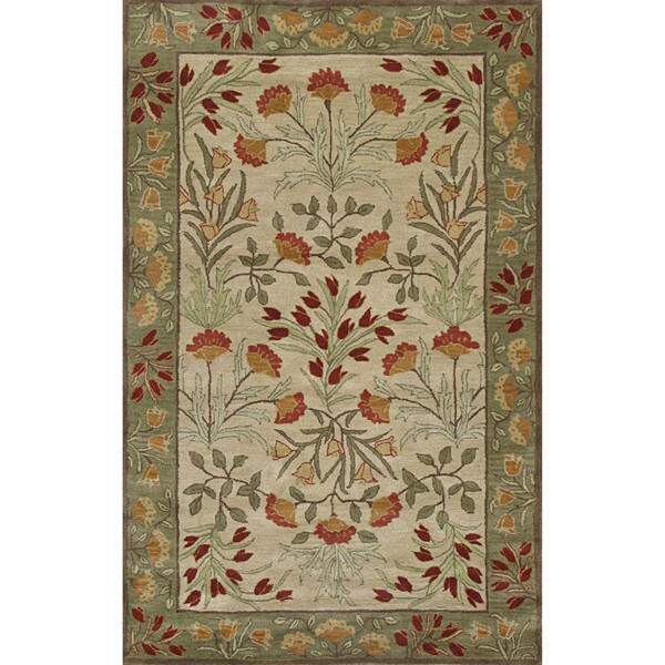 Shop ABC Accents Handmade Alps Beige Green Wool Area Rug
