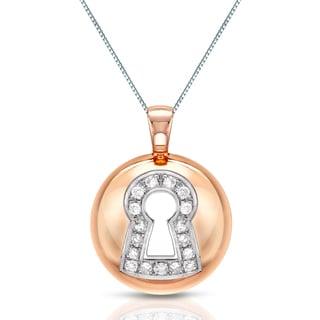 Auriya 14k Rose-gold Diamond Lock Pendant