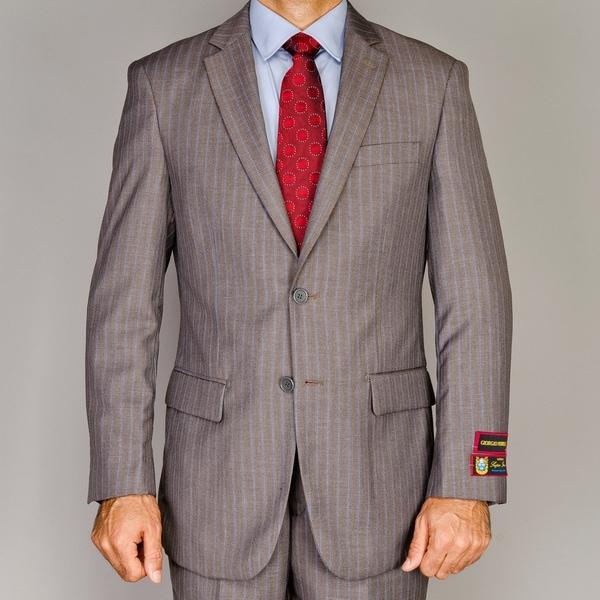 Men's Light Brown Pinstripe 2-button Suit