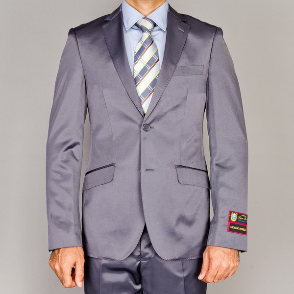 Men's Slim Fit Shiny Grey Suit