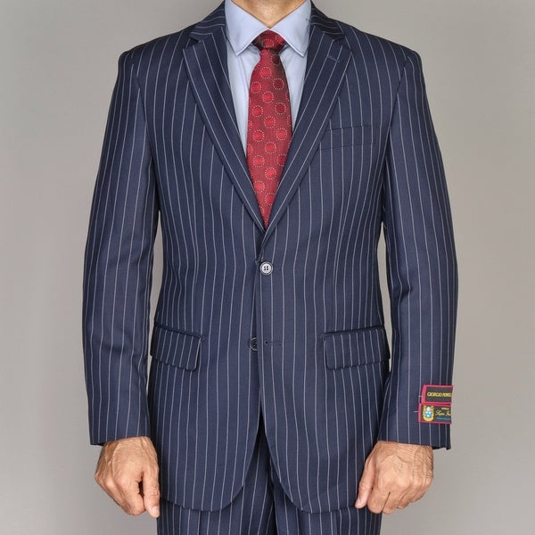 Men's Navy Blue Pinstripe 2-button Suit