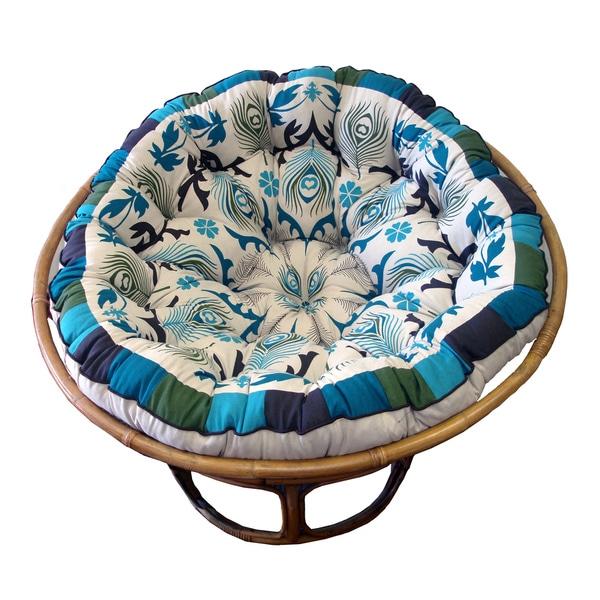 Celebration Papasan Blue Peacock Cushion