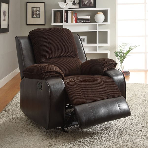 Arbor Chocolate Brown Corduroy Two-Tone Recliner Chair