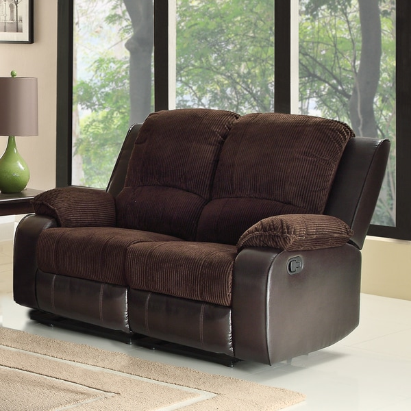 Arbor Chocolate Brown Corduroy Two-Tone Double Recliner Loveseat