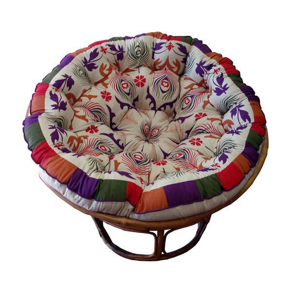 Shop Celebration Papasan Purple Peacock Cushion